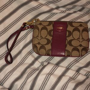 Coach Wristlet Wallet with Maroon detail